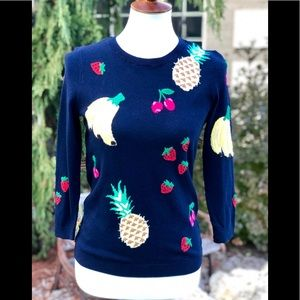 NWT Talbots XS navy sweater with fruit 🍌 🍒 🍍